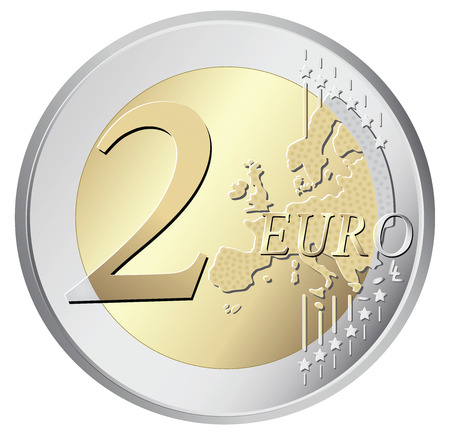 euro coin: Two euro coin vector illustration isolated on white background