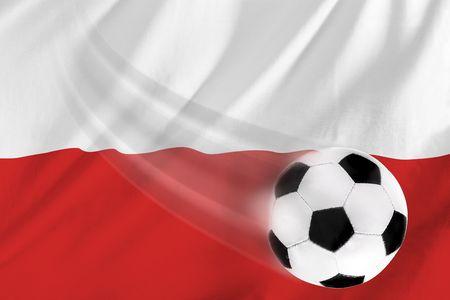 polish flag: soccer ball and polish flag