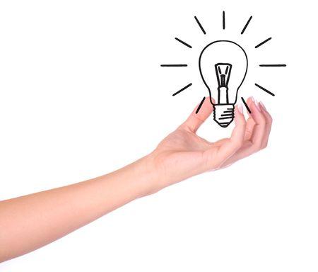 Hand holding drawn light bulb - EcologyEnvironment concept  Stock Photo