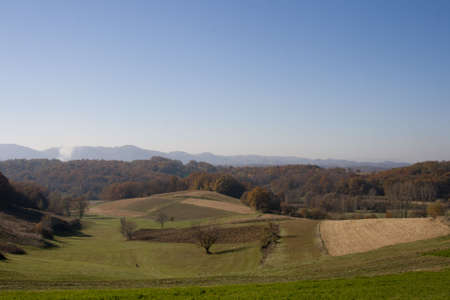 Landscape view in Croatia(Zagorje), fields and trees in autumn Stock Photo - 8159675