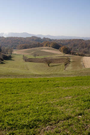 Landscape view in Croatia(Zagorje), fields and trees in autumn  photo
