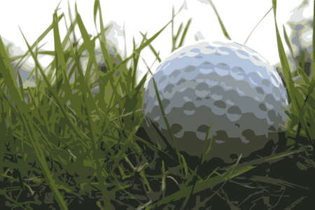 Golf ball in the rough from a low below ground angle. Vector format Vector