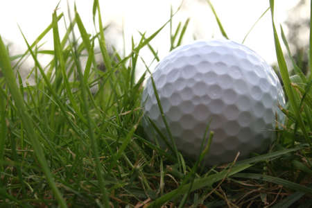 Golf ball in the rough from a low below ground angle photo