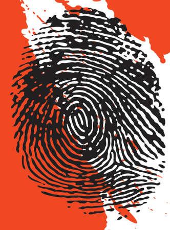 civil rights: Vector - Fingerprint overlaid on a blood splattered background Illustration