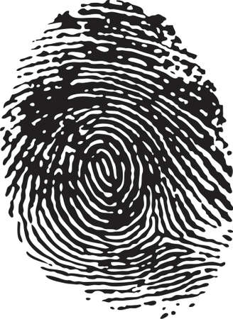 incriminate: Vector Fingerprint - Black on a white isolated background Illustration