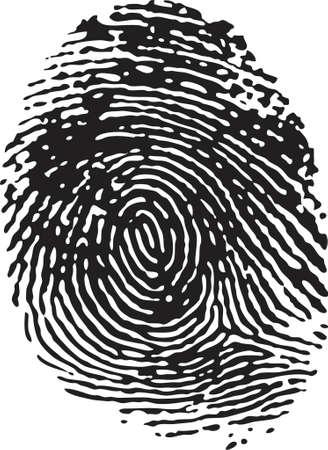 civil rights: Vector Fingerprint - Black on a white isolated background Illustration