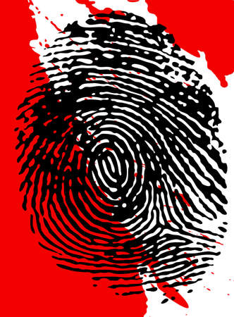 fingermark: Black fingerpinrt on a blood splattered background Stock Photo