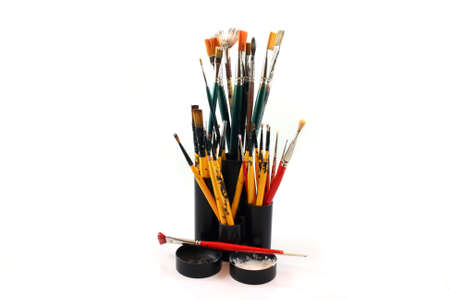 fine tip: Paint brushes on a white Background