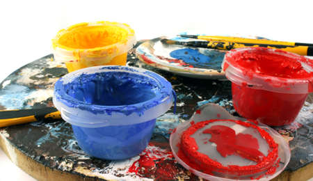 fine tip: Paint brushes and palette with paint pots