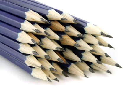 Pencils a white background