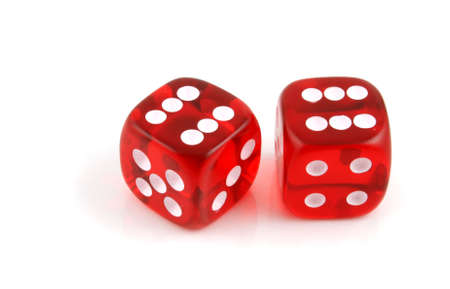 certainty: 2 Dice close up- Pair of Sixes  Stock Photo