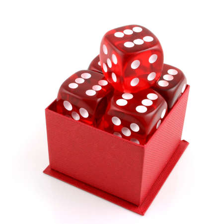 croupier: 5 Dice in a red box all showing sixes
