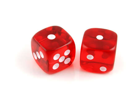 croupier: 2 Dice on a white background - close up shot of  snake eyes