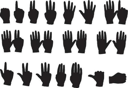 Hands 1 to 10  in vector format Stock Vector - 1242916