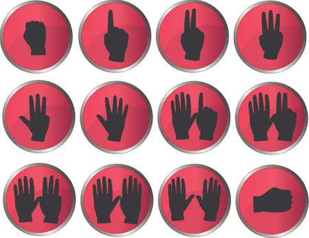 12 Hand buttons Vector