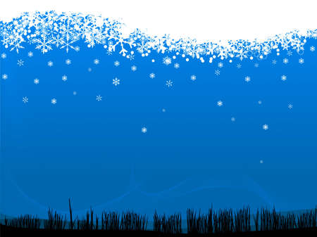 Snowflakes falling on a grassy landscape