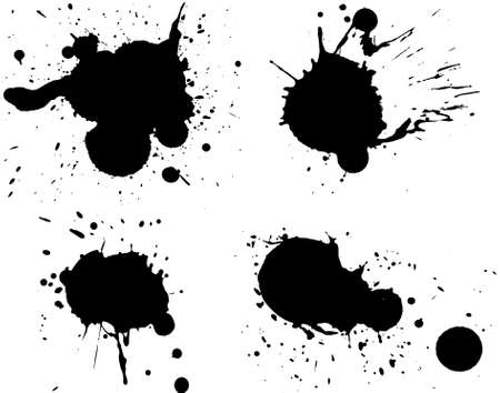 splotches: 4 Black Splats - Background is transparent so they can be overlayed on other Illustrations or Images.   Illustration