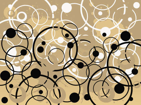 Black and White Circles - Vector Background in tan and brown colors