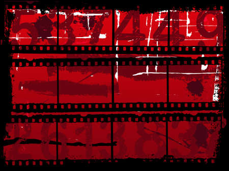 Grunge Background Illustration with Old film strips    Vector