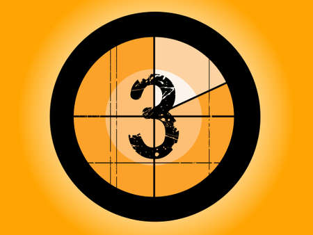 Old Fashioned Film Countdown at Number 3 Illustration