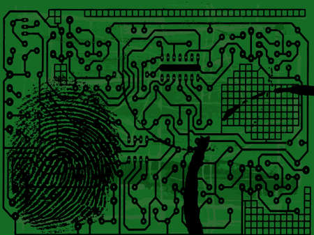 Grunge Circuit Board Effect with fingerprint  Vector