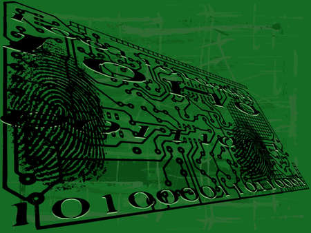 Grunge Circuit Board Effect with fingerprint and Binar Numbers Vector