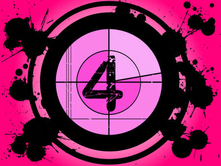 Old Fashioned Film Countdown at Number 4   Vector