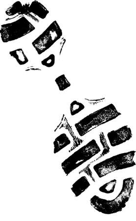 shoe print: Isolated Left ShoePrint 2 - Highly detailed vector of a walking shoe