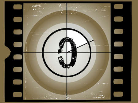 Old Scratched Film Countdown at No 0 Vector