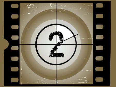 Old Scratched Film Countdown at No 2 Vector