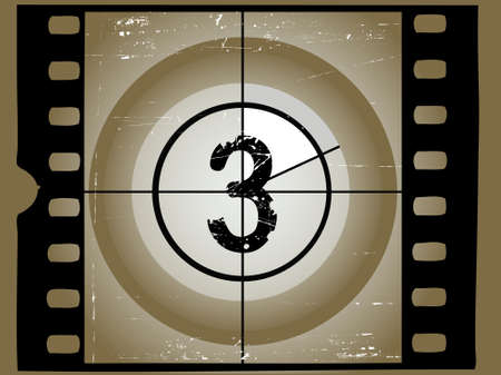 Old Scratched Film Countdown at No 3 Vector