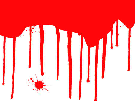 Blood Splats and Drips - running down over a white background