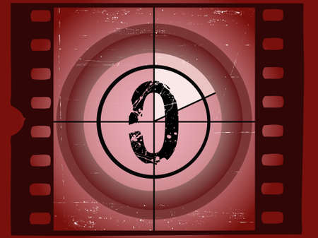 Old Red Scratched Film Countdown at No 0 Vector