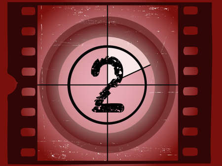 Old Red Scratched Film Countdown at No 2 Vector