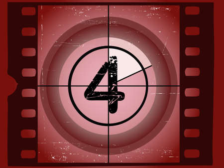 Old Red Scratched Film Countdown at No 4 Vector