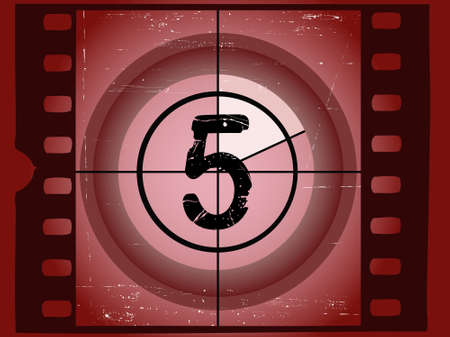 Old Red Scratched Film Countdown at No 5 Stock Vector - 1876502