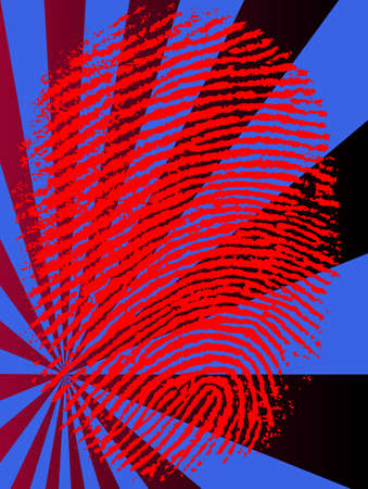 Red Vector Fingerprint on a fading background Vector