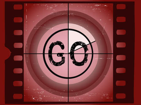 Old Red Scratched Film Countdown - Go Vector