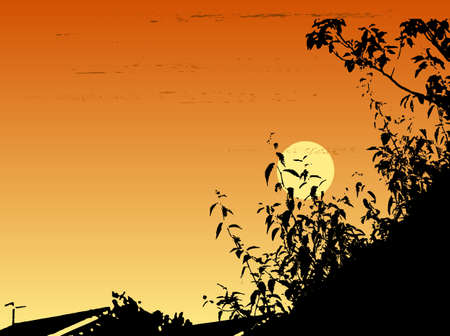 suburbia: Landascape illustration of a setting sun in vector format