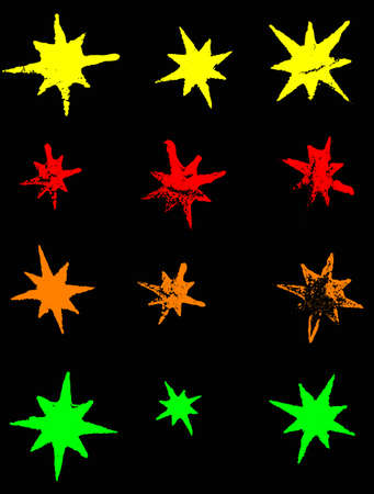 12 Neon Grunge Stars (Transparent Vectors so they can be overlaid on to other illustrations etc) Vector