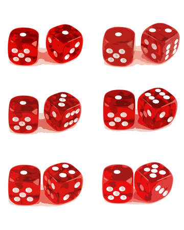 crap: 2 Dice close up - Showing all number combinations (Set of 3 Files - 1 of 3)