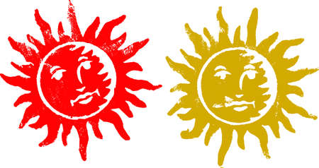 2 Grunge Sun Stamps (Transparent Vectors so they can be overlaid on to other illustreations etc) Vector