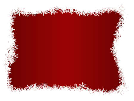Border of snowflakes on a Red background with Copyspace Stock Vector - 1876543