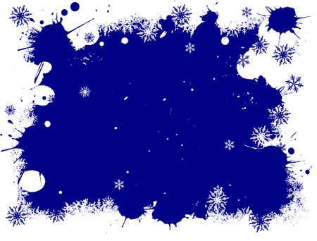 Border of Blue and White snowflakes on a Grunge Background Stock Vector - 1876617