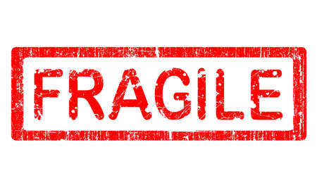 Grunge Office Stamp with the word FRAGILE in a grunge splattered text. (Letters have been uniquely designed and created by hand) Vector