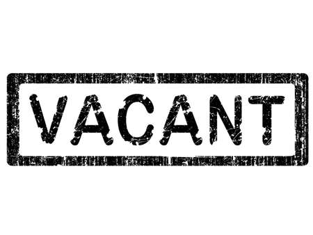vacant: Grunge Office Stamp with the words VACANT in a grunge splattered text. (Letters have been uniquely designed and created by hand)