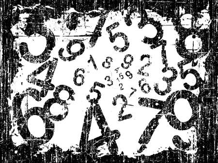 white Heavy Grunge Illustration with Acid Etched Numbers (Layered Vector)  Vector