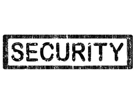 uniquely: Grunge Office Stamp with the word SECURITY in a grunge splattered text. (Letters have been uniquely designed and created by hand) Illustration