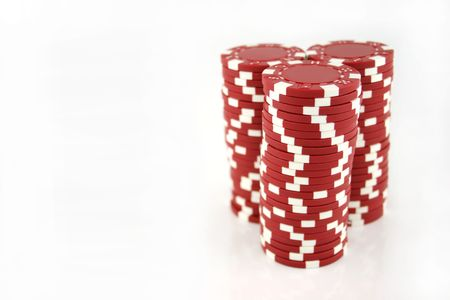 3 stacks of red casino chips isolated on a white background Stock Photo - 691363