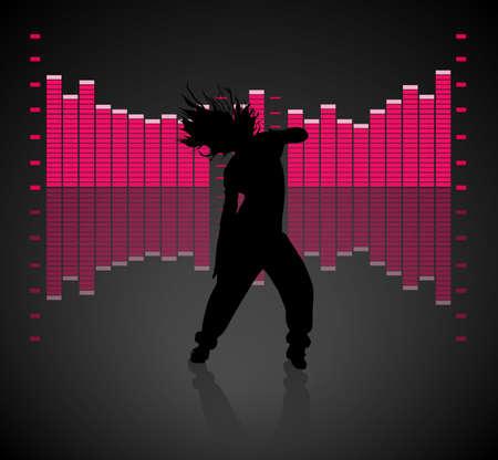 man shadow: Teen Girl Dancing Illustration